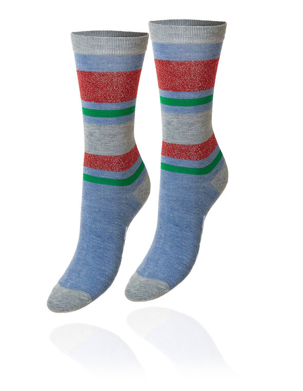 Get Your Jingle On - Crew Sock, Blue/Red, hi-res