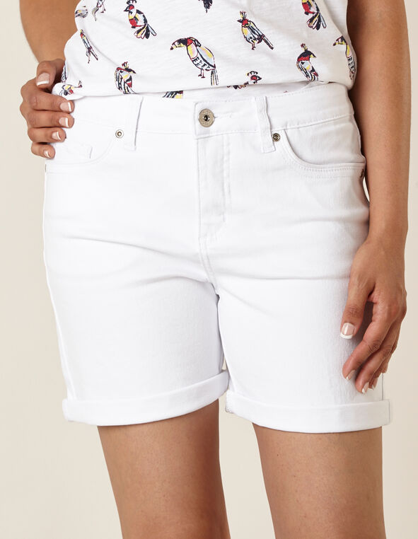 White Denim Short, White, hi-res