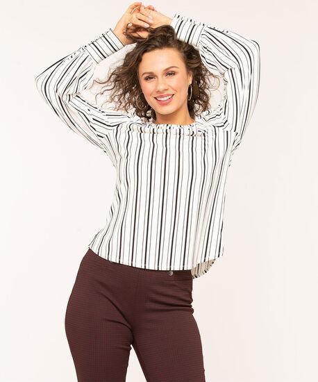 Striped Button Cuff Top, White/Black Stripe, hi-res