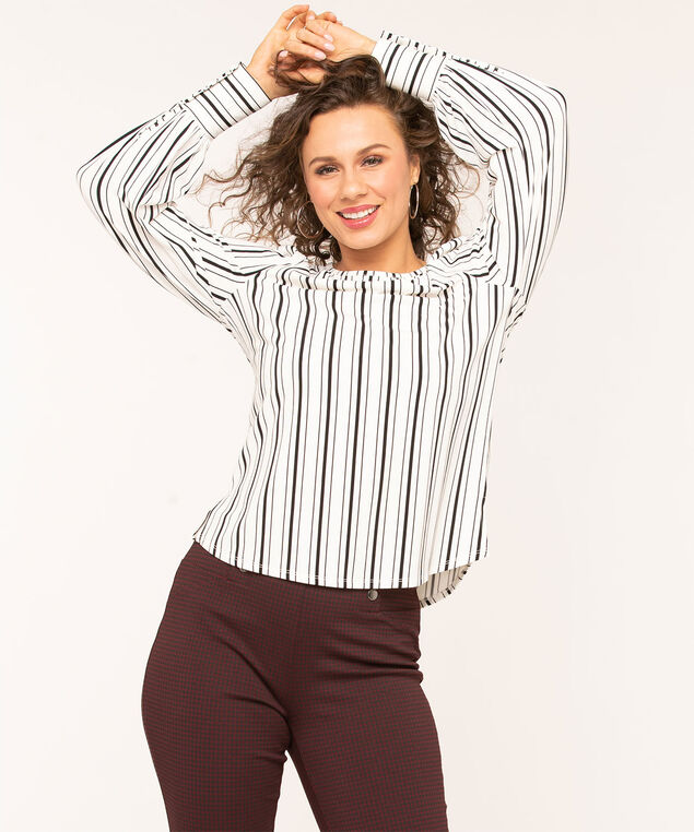 Striped Button Cuff Top, White/Black Stripe
