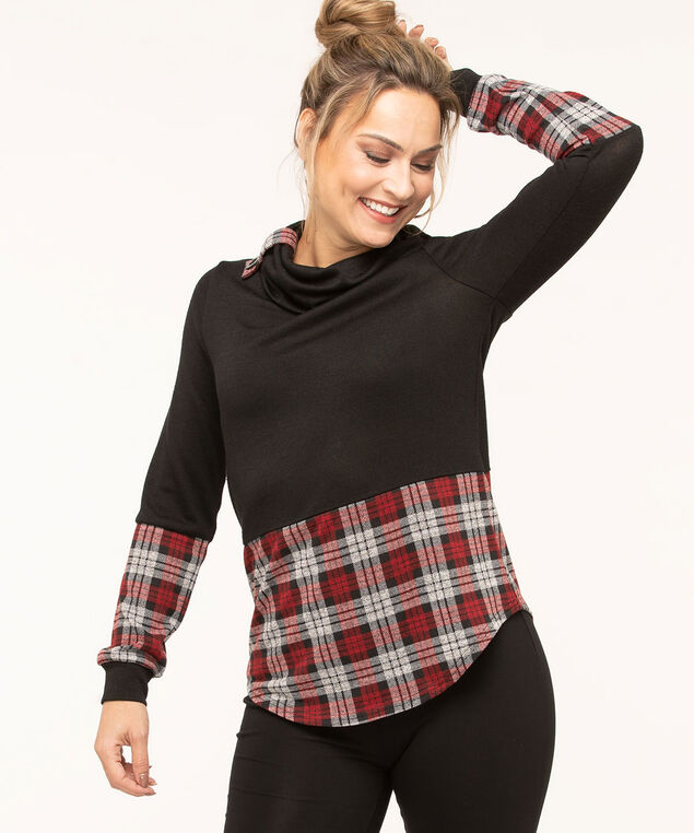 Red Plaid Black Hacchi Top, Black/Red Plaid, hi-res