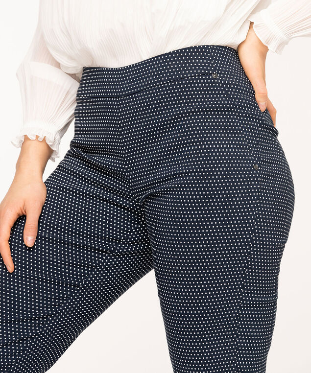 Navy Square Dot Slim Leg Pant, Navy/White