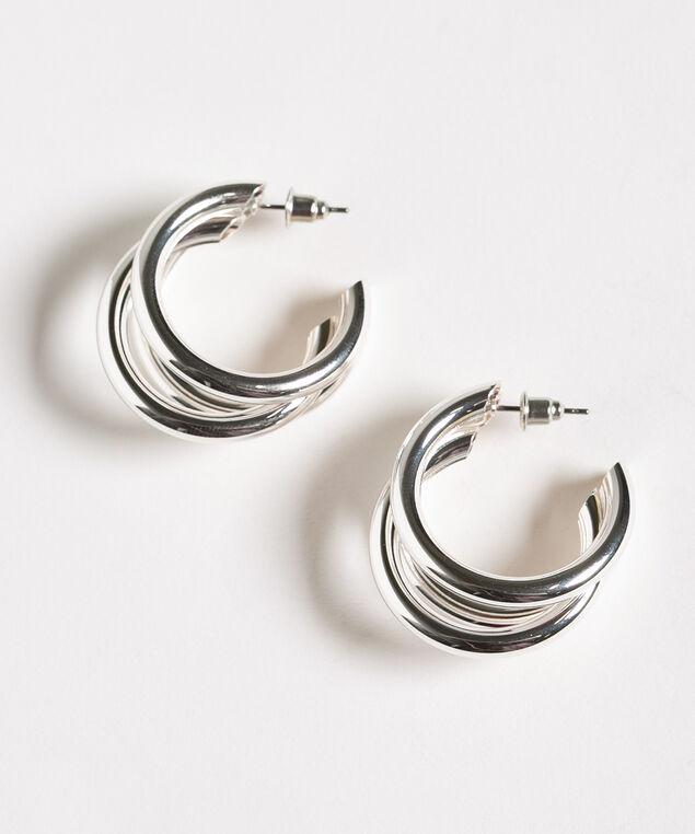 Triple Silver Hoop Earring, Silver, hi-res