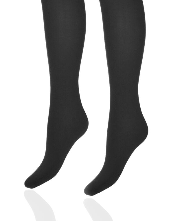 Black Microfiber Tights, Black, hi-res