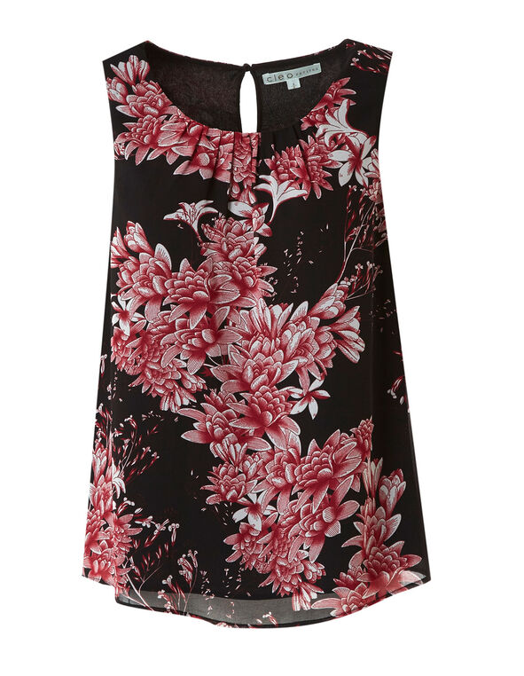 Hot Pink Floral Ruched Blouse, Black, hi-res