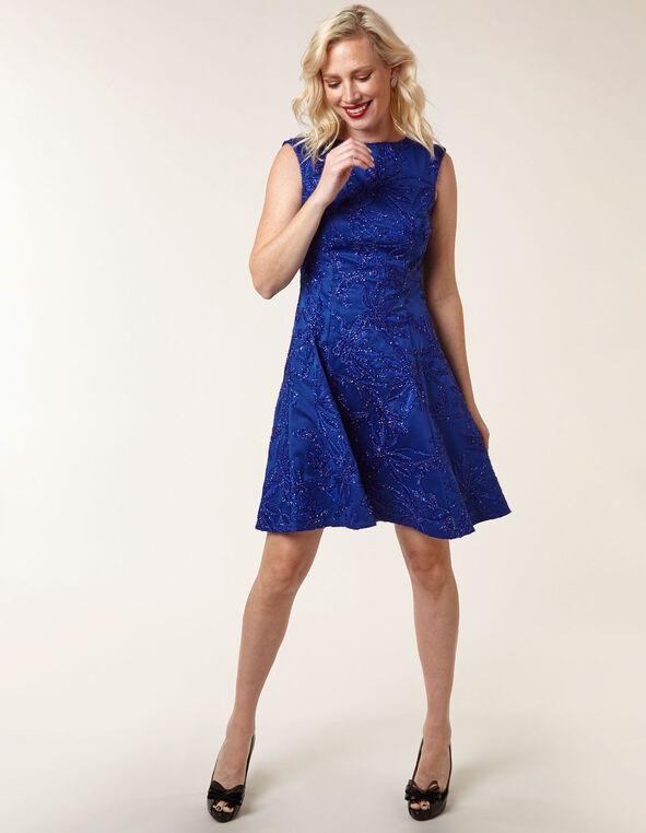Sapphire Sequin Fit & Flare Dress, Royal Bl, hi-res