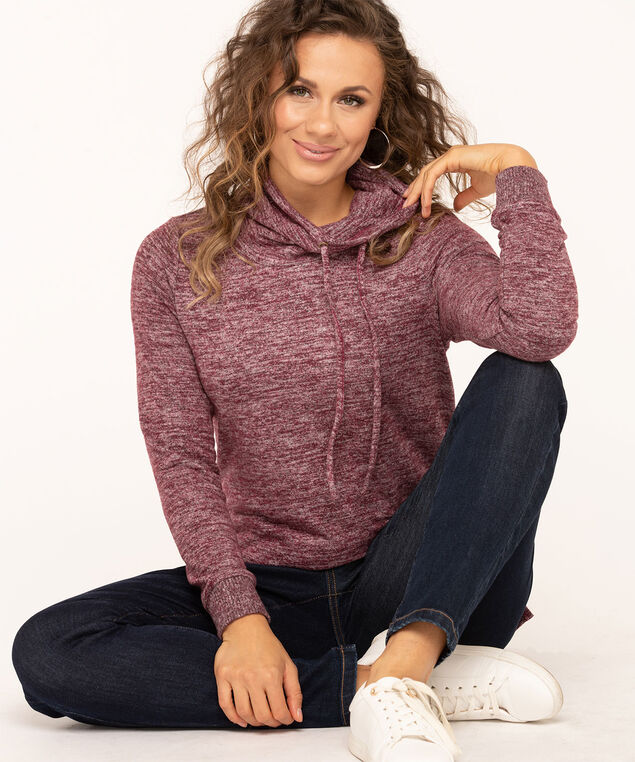 Hacchi Funnel Neck Pullover, Mulberry Mix, hi-res