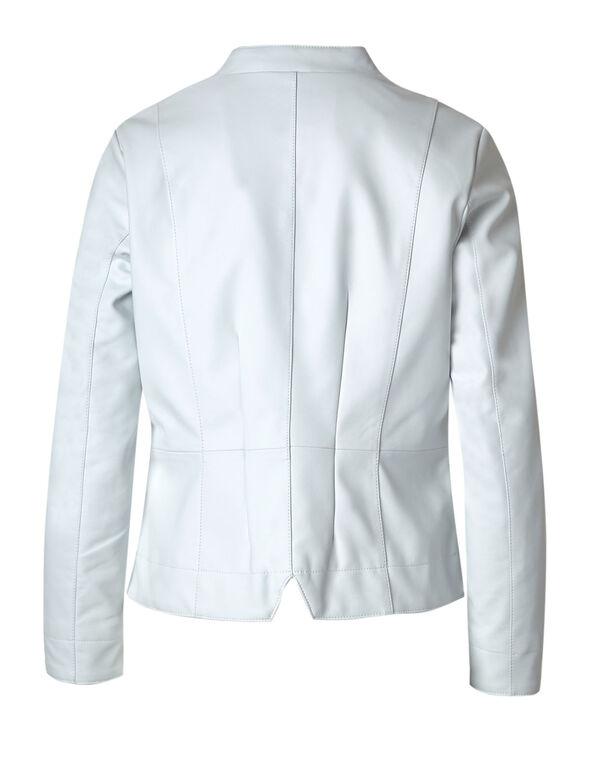 White Faux Leather Jacket, White, hi-res