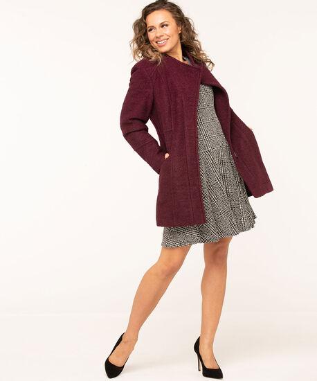 Bouclé Standing Collar Coat, Mulberry, hi-res
