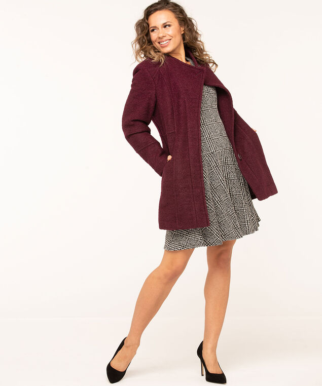 Bouclé Standing Collar Coat, Mulberry, hi-res