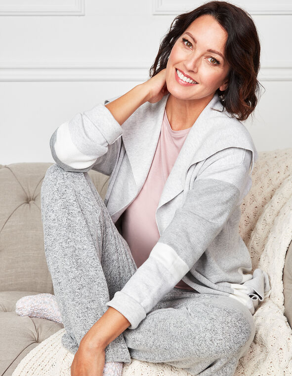Grey Striped Sweater Coat, Grey, hi-res