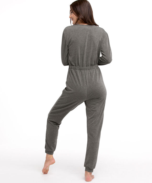 French Terry Jumpsuit, Dark Grey