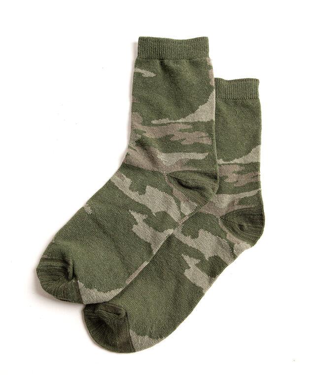Camo Crew Socks, Olive Camo