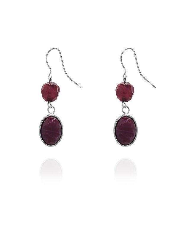 Purple Stone Earrings, Purple, hi-res