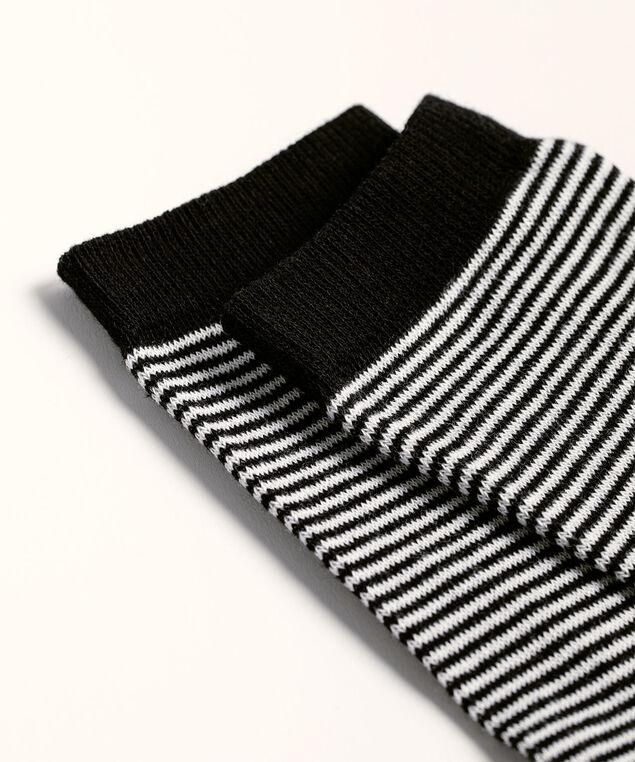 Stripes & Dots Crew Sock, Black/Ivory