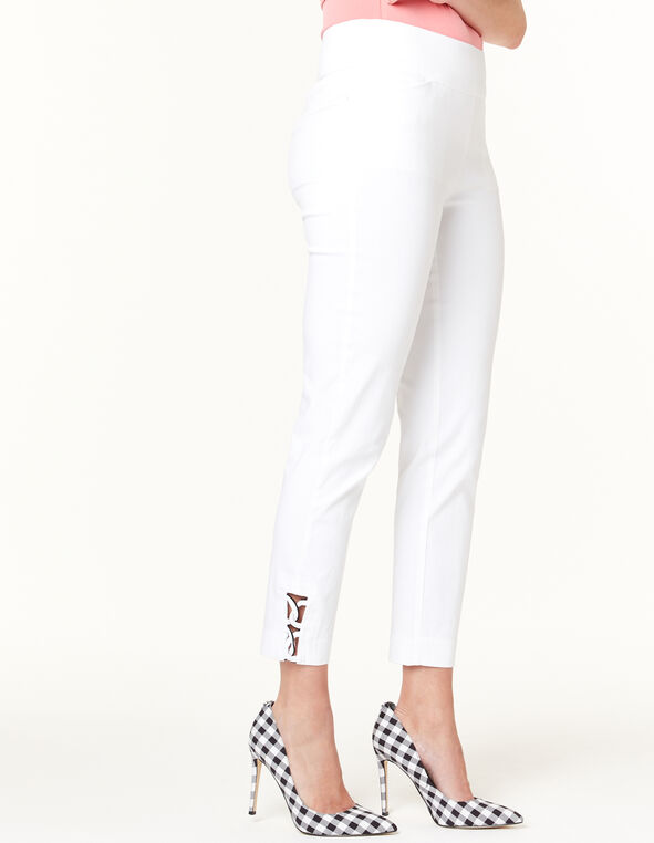 White Pull On Ankle Pant, White, hi-res