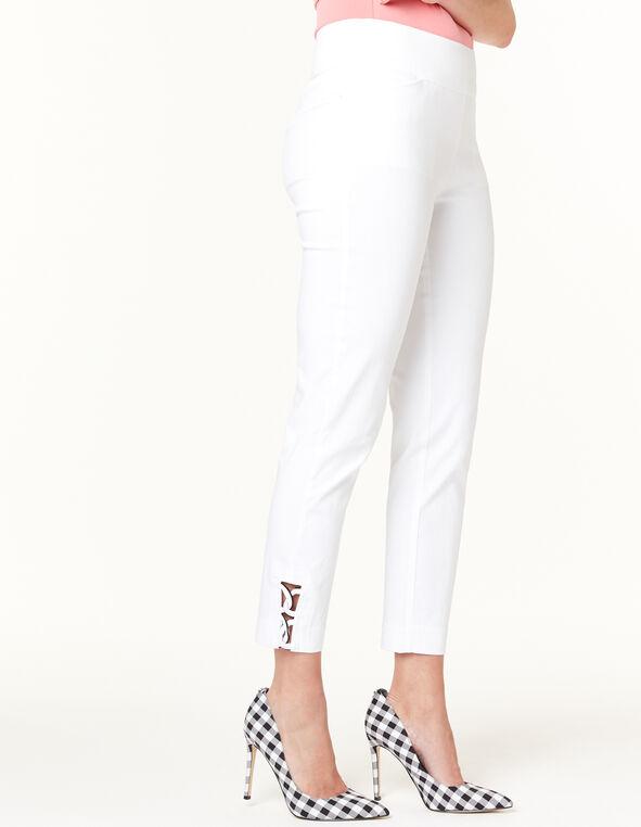 White Pull On Ankle Pant, White, hi-res