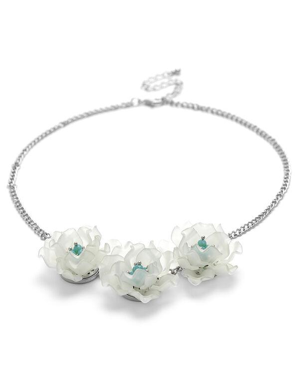 Mint Floral Short Statement Necklace, Mint, hi-res