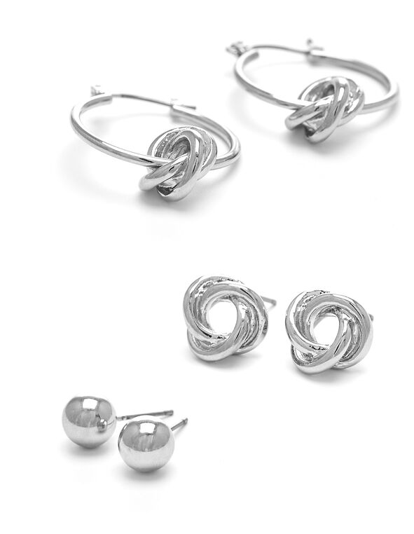 Round Knot Earring Trio, Silver, hi-res