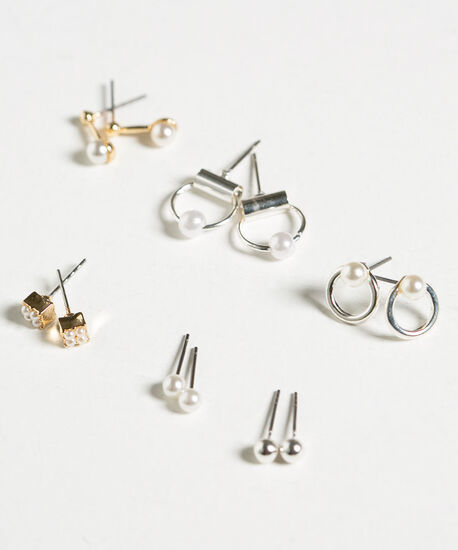 Small Pearl Earring Set, Pearl/Gold/Silver, hi-res