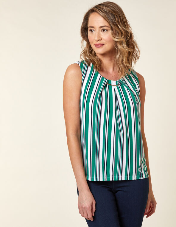 Emerald Stripe Crepe Top, Green/Emerald, hi-res