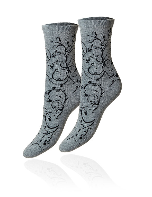 Grey Vine Crew Sock, Grey, hi-res