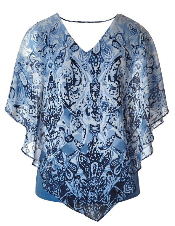 Chambray Printed Asymmetric Caftan Blouse, Chambray, hi-res