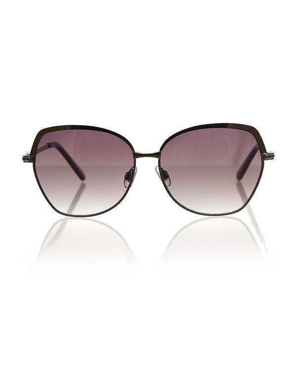 Gunmetal Large Sunglasses, Brown, hi-res