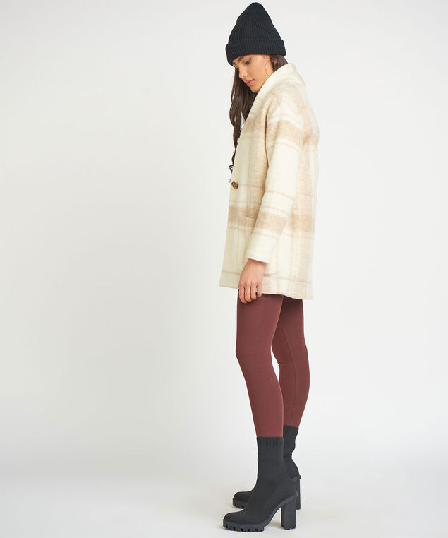 Dex Shawl Collar Cocoon Jacket, Birch Check