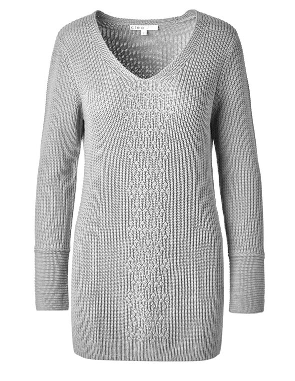 Grey Mixed Stitch Tunic Sweater, Grey, hi-res