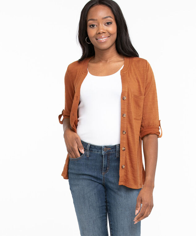 Textured Button Front 3/4 Sleeve Top, Cider