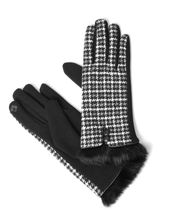 Black Faux Fur Text Gloves, Black, hi-res
