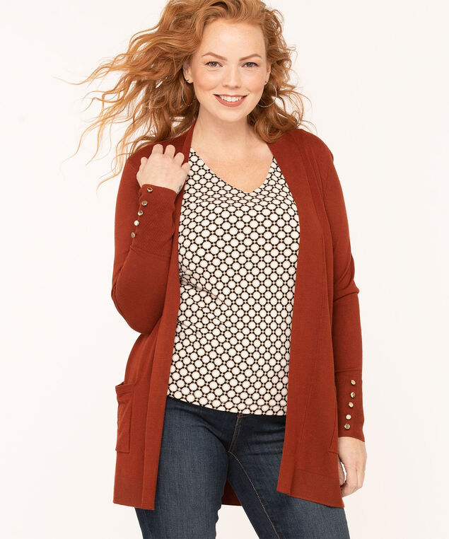 Long Sleeve Cardigan, Rust, hi-res