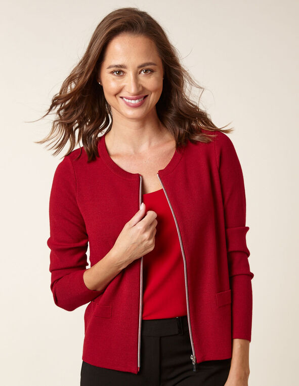 Ruby Zipper Front Cardigan, Wine, hi-res