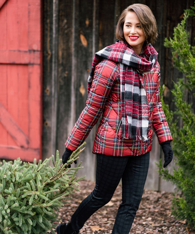Red Plaid Puffer Look,