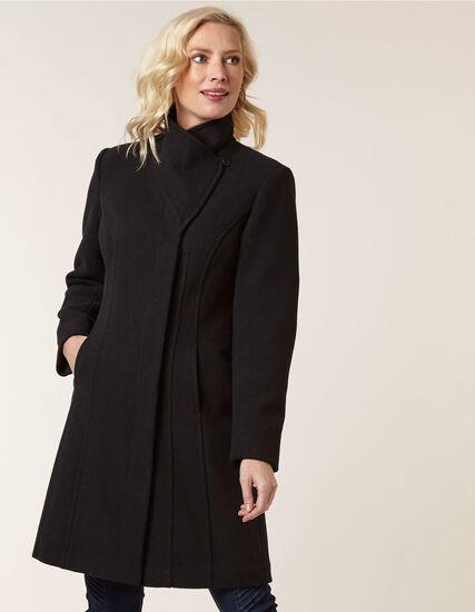 Black Classic Wool Blend Coat, Black, hi-res