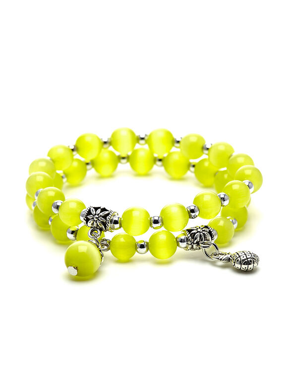Yellow Cat Eye Beaded Bracelet, Yellow, hi-res