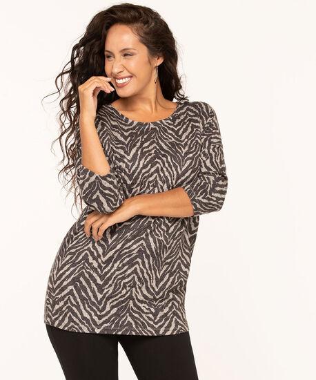 Animal Print Soft Knit Top, Black, hi-res