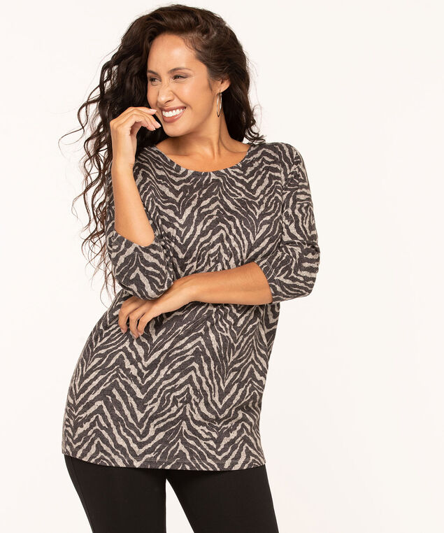 Animal Print Soft Knit Top, Black, hi-res