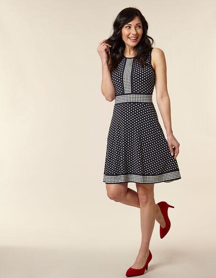 Navy Polka Dot Fit & Flare Dress, Navy, hi-res
