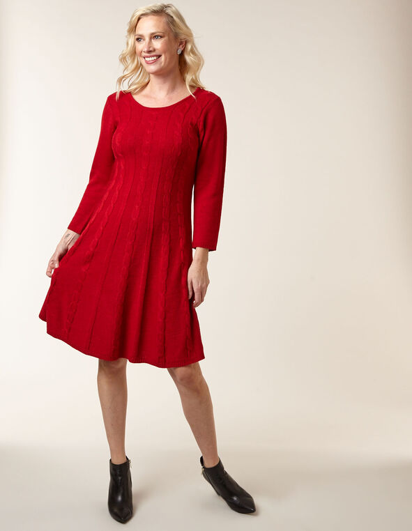 Red Fit & Flare Sweater Dress, Red, hi-res