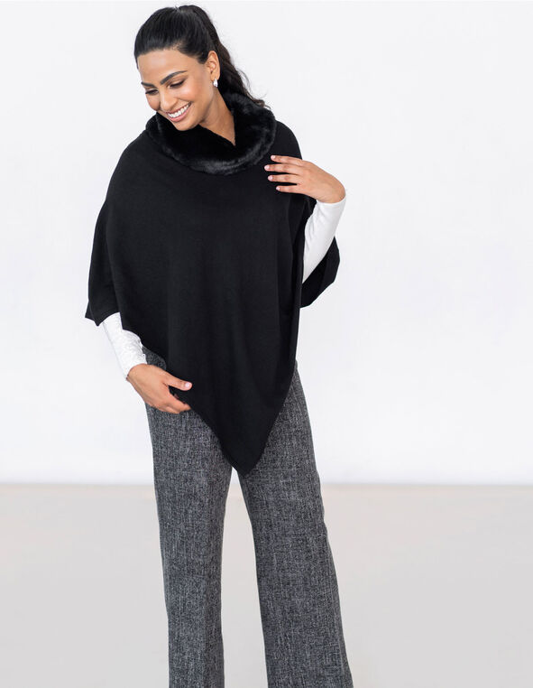 Black Faux Fur Poncho, Black, hi-res