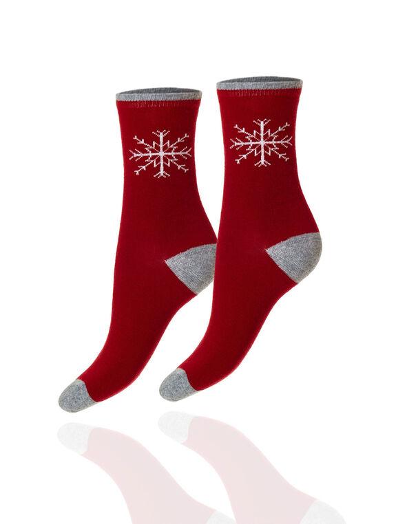 Red Snowflake Crew Sock, Red, hi-res