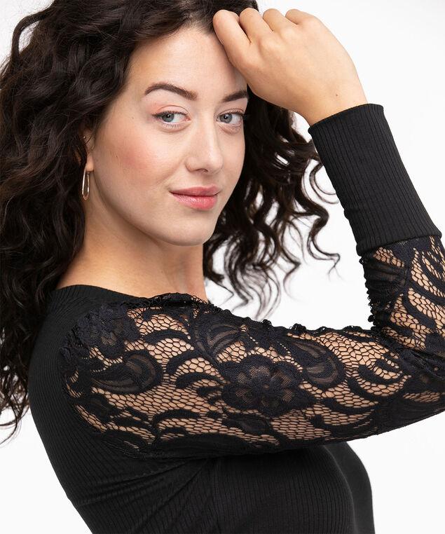 V-Neck Lace Sleeve Top, Black