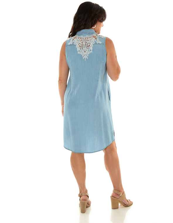 Denim Crochet Shift Dress, Blue, hi-res