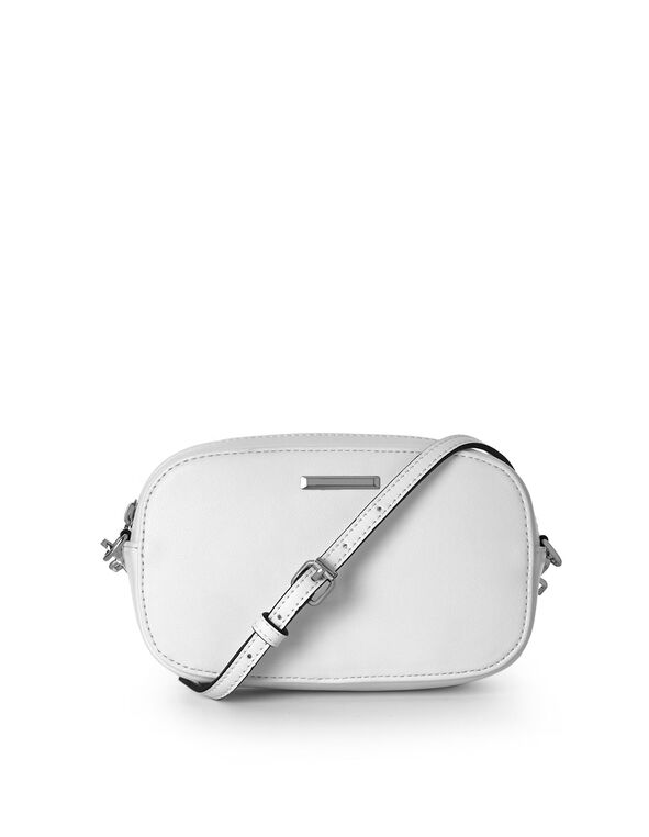 Small White Rounded Crossbody, White, hi-res