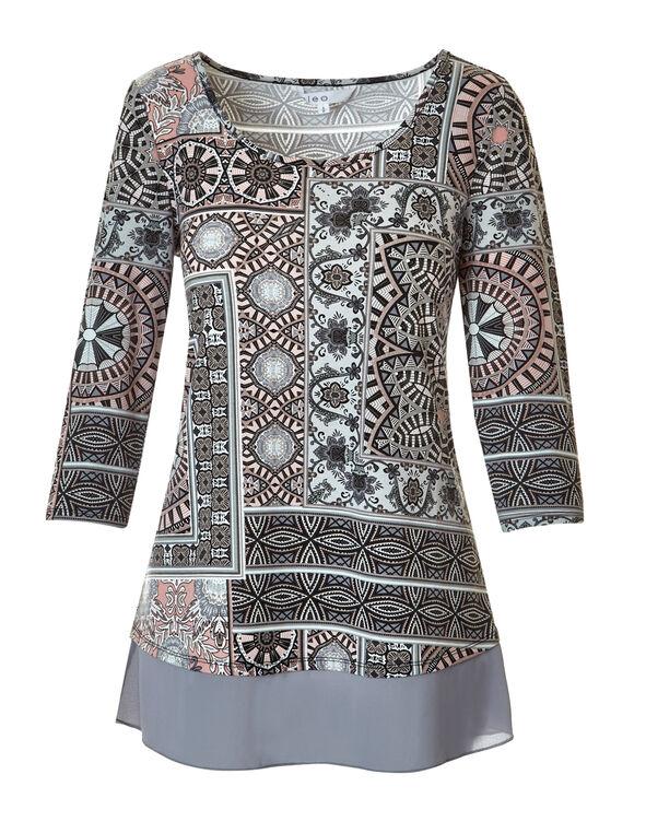 Grey Print Chiffon Hem Top, Grey/Dusty Pink/White/Black, hi-res