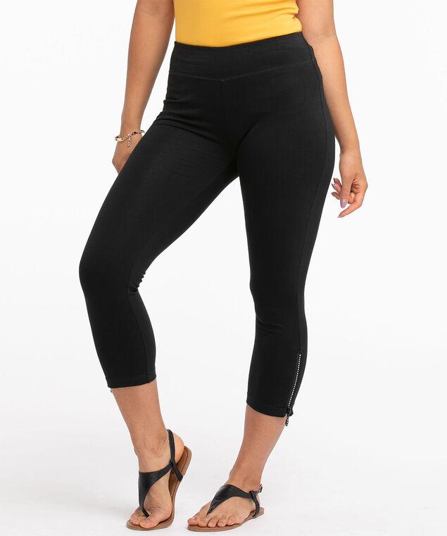 Bling Zipper Capri Legging, Black