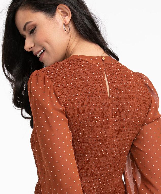 Ruched Chiffon Long Sleeve Blouse, Rust/Ivory Dot