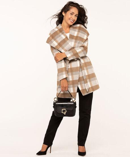 Camel Plaid Wrap Coat, Camel/Ivory/Grey, hi-res